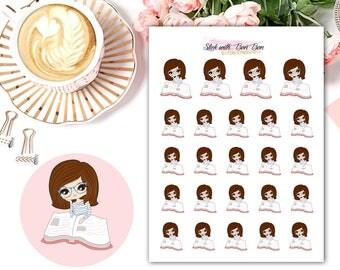 Amelie kawaii READING planner stickers || Erin Condren Life Planner, Kikki K, Plum Paper Planner