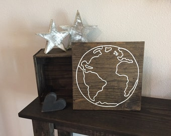 "Pallet Sign Square Earth Outline Sign - 11""x11"" - Earth Climate Reclaimed Worn Save the Planet Earth Day Wooden (Item - ENV100)"