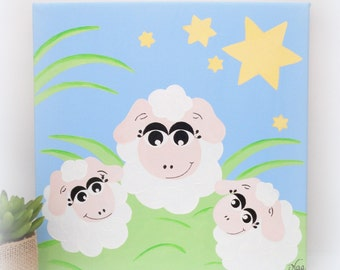 Sheep painting for kids, square, baby canvas painting sheep baby sheep canvas baby sheep decoration white and pink