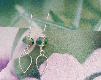 Silver Teardrop Earrings- Lampwork Earrings - Droplet Earrings - Handmade Earrings - Spring Summer - Statement Earrings - Handmade - UK Made