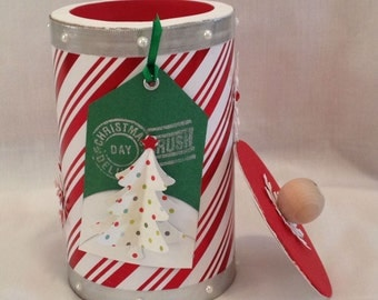 CHRISTMAS CANISTERS - candy holder- holiday decor - handmade crafts - holiday gifts