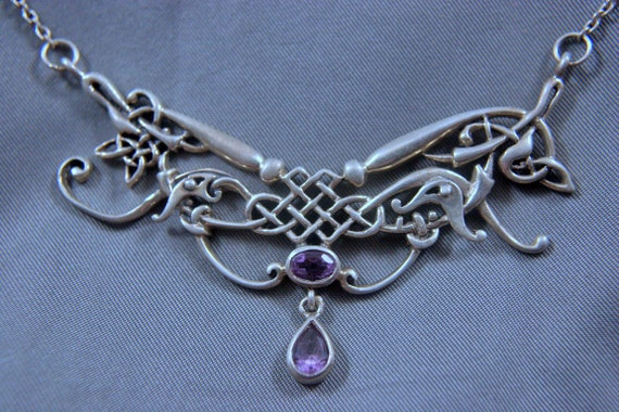 Stunning Peter Stone Norse-Viking-Celtic Sterling Amethyst Necklace