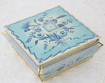 Vintage Square Cookie or Chocolate Tin, Blue Flower Decor