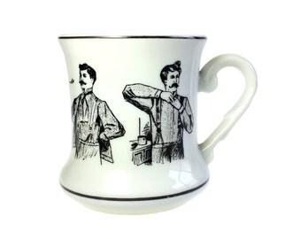 Mustache Cup 1920s Gentlemen Vintage Made in Japan Ceramic Barbershop Victorian