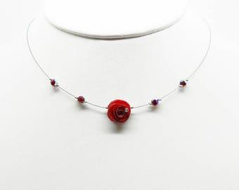 crew neck collar rose red, pink or black and swarovski tops