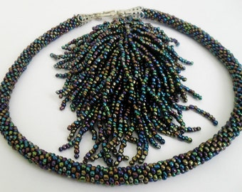 FREE SHIPPING. Beaded Crochet Necklace.