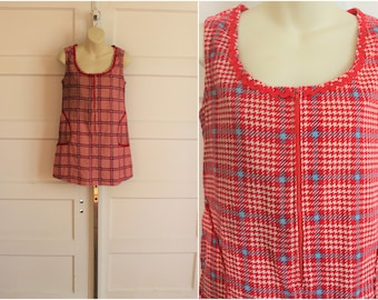 Mod A-Line Mini Dress / Zip Up Micro 1960s Vintage / Houndstooth  / Cord Swinging 60s / Psychedelic Sixties costume / 1960's Mod