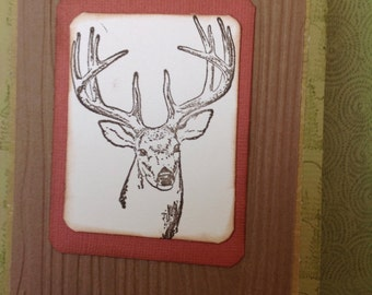 Handmade greeting card- Deer Card-blank inside-buck card- hunting card - outdoors card- outdoorsman- outdoorswoman