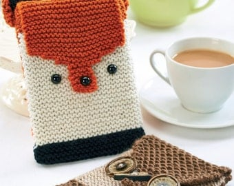 phone case e-reader case hand knit crochet fox owl tablet case phone cosy kindle gift for her gift for him Easter gift Valentine's Day gift