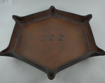 Leather Valet Tray / MADE TO ORDER / Monogrammed / 6 Sided / Full Grain Hermann Oak Leather