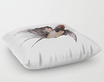 Floor Pillow Sparrow Swallow Bird Watercolor Design White Pillow Choice of Round or Square