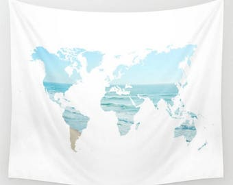Ocean Beach World Map Wall Tapestry Dorm Room Apartment Boho Home Dress Up Your Wall  Decor