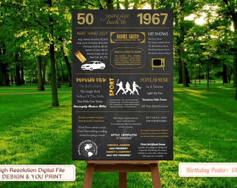 50th birthday poster, 1967 Chalkboard Poster, 50th birthday party decorations, 50th birthday gift for men, 50th birthday gift women | No.80
