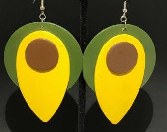 Funky Green, Yellow, and Dark Brown Earrings
