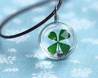 Real Four Leaf Clover Necklace Lucky Charm Lucky Pendant 4 Leaf Clover Jewelry Four Leaf Clover pendant jewelry Necklace Clover Necklace