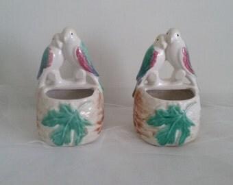 Love Birds Vintage Wall Pocket Planters//Morton Pottery Parrot Planters//Love Birds Wall Pockets