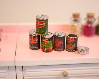 Dollhouse Miniature Friut Tin Cans set in 1:12th Mini Friut Tin Cans