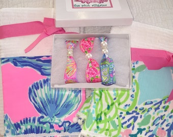 Lilly Pulitzer Blue Heaven , First Impression, Shell Abrate  Bracelets and Towels