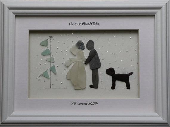 Wedding Gift For Artsy Couple : Wedding Gift, Pebble Art, Wedding Portraits, Gifts for the couple ...