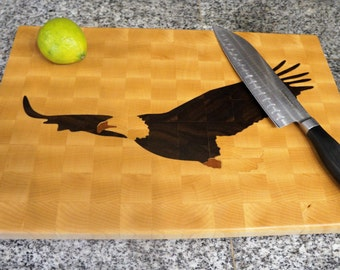 End Grain Wood Cutting Board with Bald Eagle Inlay