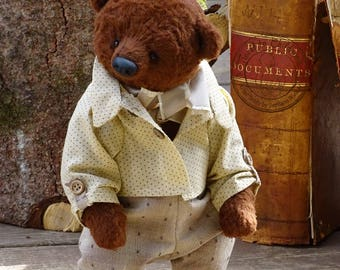 Chocolate Brown Artist Teddy Bear. Collectible Teddy Bear. Artist Teddy Bear, Stuffed Dressed Teddy Bear OOAK handmade