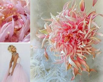 Pale Pink Salmon Dahlia Wedding Bridal silk flowers. Prom dress, Wedding Silk Flower Corsage Boutonniere Brooch, groom bridesmaids flower