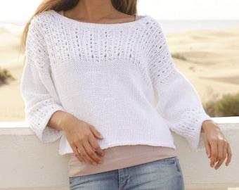 Knitt woman cotton  sweater with lace pattern, hand knit women garment, cropped sweater