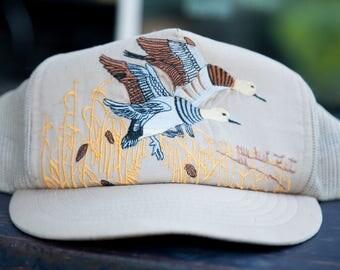 Vintage Embroidered Ducks Trucker Hat