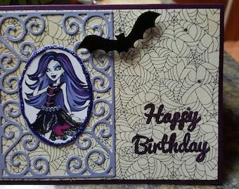 Handmade Monster High Birthday Card