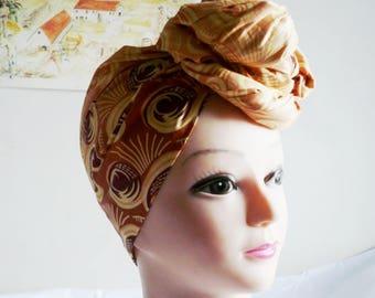 Peach and Brown Swirl Ankara Head wrap, DIY head tie, Stylish African head scarf, Fabric hair accessory – Made to Order