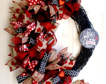 Red and Black Grapevine Valentine's Day Wreath, Deco Mesh and Grapevine Valentine's Day Wreath, Rustic Black and Red Valentine's Wreath,