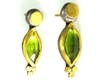 Peridot solitaire handmade earrings