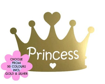 Princess Crown Decal Sticker, Gold Crown Vinyl Decal, Nursery Room Decor, Girl's Room Decor, Bedroom Wall Decal, Removable Vinyl Wallpaper