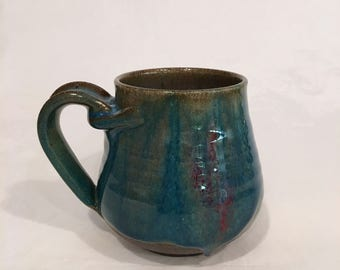 Ceramic Coffee Mug, Turquoise Coffee Mug, Handmade Pottery Mug 15 OZ MTCM5