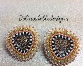 Leopard heart shape beaded earrings