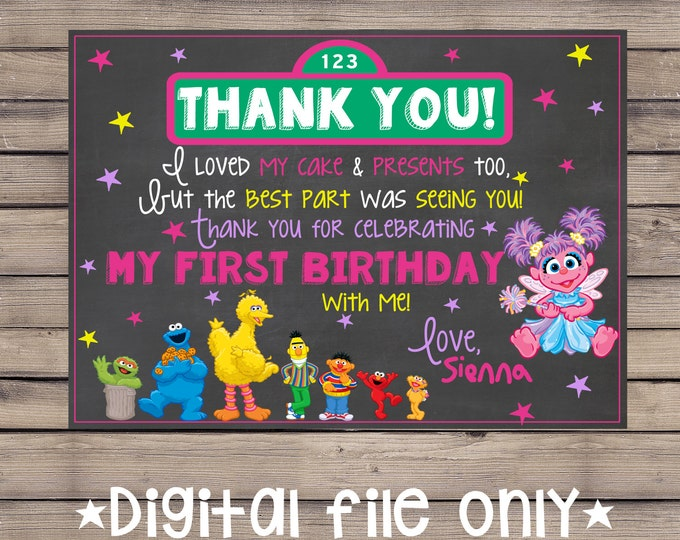 Sesame Street Chalkboard Thank You / Sesame Street Birthday Thank You /Sesame Street Chalkboard Birthday Thank You /Sesame Street Invitation
