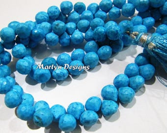 Best Quality Magnesite Faceted Turquoise Beads , 7-8mm Size Blue Turquoise Briolette Beads , Strand 8 inch long , Onion Shape Gemstone Beads