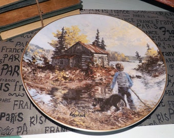 Vintage (c.1984) Hutschenreuther Germany limited edition, signed, numbered Keirstead collector plate entitled The Explorers. Gold edge.