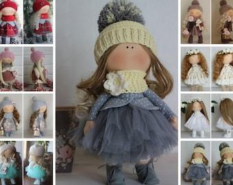 Tilda doll Handmade doll Fabric doll Grey doll Soft doll Cloth doll Baby doll Rag doll Interior doll Textile doll Collectable doll by Oksana