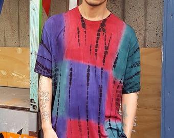 Tie Dye Silky Raver T-shirt Tri-Colour