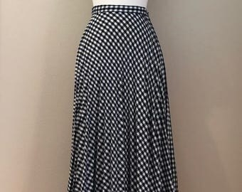 1960's Wool Plaid Navy and Cream Maxi Skirt