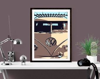 VW Campervan Print, Retro camper wall decor, Art for teenager bedroom, Housewarming Gift, Gallery Wall Print, Giclee print, Gift for her