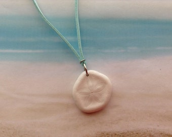 Nautical Sand Dollar Sea Biscuit Shell Aqua  Suede Cord Beach Wear Pendant Necklace Jewellery