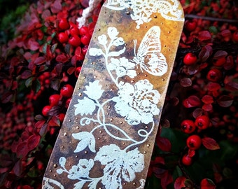 White vintage flowers with butterfly on the yellow brown golden background - handmade bookmark. Awesome present for a bookworm book lovers