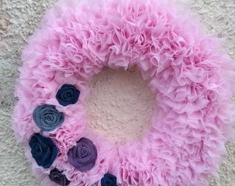 Pink voile rag wreath with denim roses
