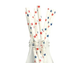 25 Red and Blue Star Paper Straws, Star Paper Straws, Red Party Straws, American Flag Themes, Cake Pops, Transports Party Straws, Boys Party