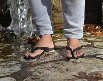 Black Mens Sandals leather sandals for men flip flops for men summer sandals mens leather flip flops leather flip flops flip flops mens