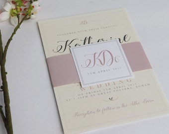Cream and Pink A5 greeting card style wedding invitations - Day/Evening guests