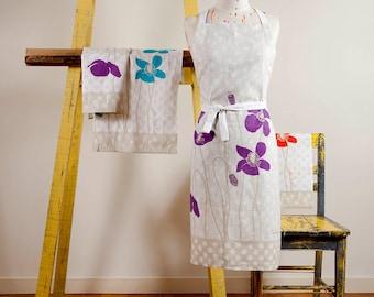 Gift Set, Linen Apron & Linen Tea Towel, Poppies Tea Towel, Poppies Apron, Gifts for Christmas, Gift For Mum, Housewarming Gift, Pure Linen