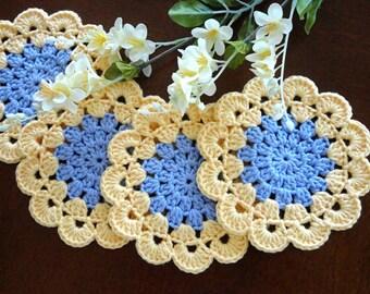 Crochet Coasters Placemat Table linens Kitchen Coaster Decor Gift Crochet Doilies Tablecloth Crochet Doily Round Cotton Table Home Decor